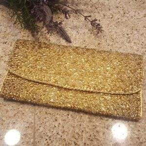 Vintage Hamd Made for Broadway Gold Beaded Clutch